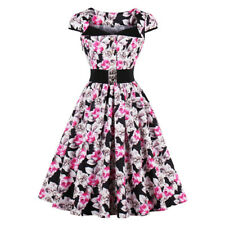 Retro 50s 60s ROCKABILLY DRESS Floral Print Swing Pinup Housewife Prom Tea Dress