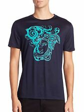 Versace Collection Flocked Medusa Head Graphic Short-Sleeve T-Shirt,