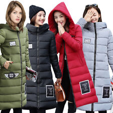 Womens Winter Warm Down Cotton Jacket Hooded Parka Coat Long Slim Outerwear New