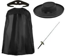 Masked Avenger Mexican Hero Zorro Z Mask Black Cape Hat Sword Book Day