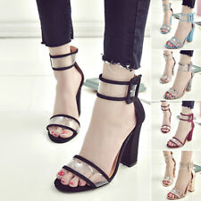 New Womens High Clear Heels Ankle Strappy Open Toe Ladies Sandals Party Shoes