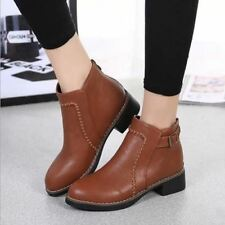 Back Zipper Closure Round Toe Casual Ankle Height Boots For Women