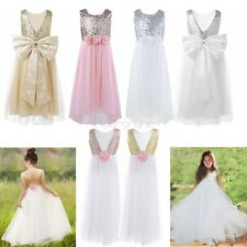Girls Tulle Sequined Dress Flower Girl Dress Bridesmaid Dress Formal Party Gown