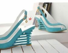 Women Blue Color Buckle Decorated Transparent High Wedge Heel Sandal