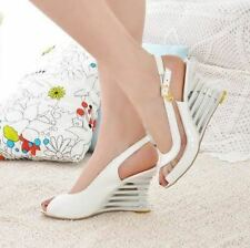 Women White Color Buckle Decorated Transparent High Wedge Heel Sandal