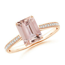 1.4 ctw Emerald Cut Morganite Cocktail Ring with Diamond Accents Gold/Platinum