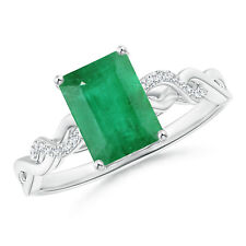 Solitaire Emerald Cut Emerald and Diamond Infinity Twist Ring Silver/14k Gold
