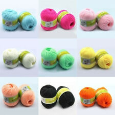 Baby Skein Soft Silk Pure Color Worsted Wool Cashmere Knitting Woolen Yarn HOT