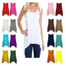 Lz71 WOMEN LADIES HANKY HEM TOP LONG SLEEVELESS SCOOP NECK VEST TOP FLARED SWING