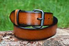Cristopher Handmade Full Grain Tan Leather Belt fitted with Black Roller Buckle