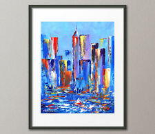 Fine Art Prints Contemporary Urban Painting Modern CityScape Skyline Abstract