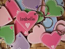 PERSONALISED WOODEN HEART KEYRING .. ANY NAME OR WORDING .. BIRTHDAY CHRISTMAS