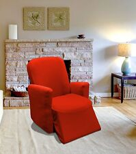 RED JERSEY RECLINER STRETCH SLIPCOVER, COUCH COVER, CHAIR FURNITURE COVER