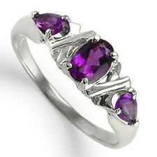 Mother's Three Stone Amethyst Ring 10k Solid White Gold Ring 4 to 9.5 # R1220