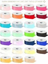 """1/4"""" 3/8"""" 5/8"""" 7/8"""" 1.5"""" WIDE SATIN RIBBON 100% POLYESTER 50 100 YARDS ROLL"""