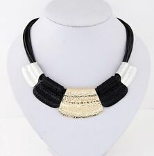 New Fashion Solid Pattern Black And Silver Color Party Wear Women Necklace