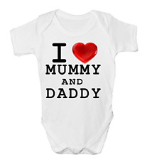 I LOVE MUMMY AND DADDY CUTE BABY BODY SUIT GROW VEST GIRL BOY GIFT IDEA NEW
