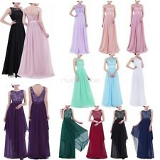 Women's Chiffon Long Bridesmaid Dress Evening Party Wedding Formal Cocktail Gown