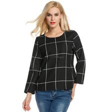 Women Long Sleeve Plaid Blouse Polyester Slim Casual OL Tops WT88