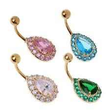Rhinestone Crystal Waterdrop Barbells Navel Belly Bar Button Ring Piercing
