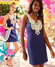 $198 Lilly Pulitzer Largo True Navy Gold Lace Embroidered Shift Dress