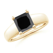 Princess Cut Enhanced Black Diamond Solitaire Engagement Ring 14k Yellow Gold