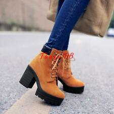 Womens Chunky High Heels Platform Lace Up Punk Moto faux suede Chic Ankle Boot