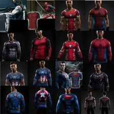 Marvel Superhero Compression Long Short Sleeve Mens T-shirts Sport Cycling Tops