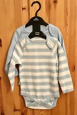 New Baby Boys Exstore Next 2 Pack Long Sleeved Romper Vests Size 6-9 Months
