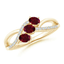 Oval Garnet Three Stone Bypass Ring with Diamonds 14k Yellow Gold/ 925 Silver