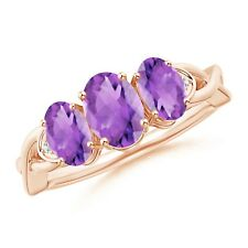 Criss-Cross Oval Amethyst Three Stone Ring with Pave-Set Diamonds 14k Rose Gold