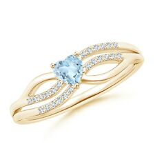 Solitaire Aquamarine Heart Promise Ring with Diamond Accents 14k Yellow Gold