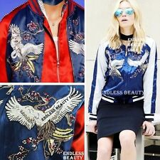 Moto Embroidered Satin Bomber Jacket Womens Embroidery Varsity Baseball Coat SML
