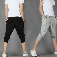Sweat Mens Cropped Pants Lace Up Casual Jogging Loose Sports Trousers Harem