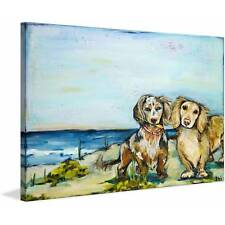 """Marmont Hill """"Beautiful Dachshunds"""" by Tori Campisi Painting Print on Canvas"""