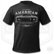 CLASSIC FORD MUSTANG T-SHIRT | Black Mens Muscle Car Vintage V8 Tee GTO