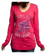 Harley-Davidson Women's Loud Skull Wings Long Sleeve V-Neck Shirt 5V37-HD0C