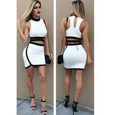 Casual Women Bodycon Two Piece Dress Crop Top Skirt Set Sleeveless Cotton Outfit