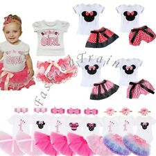 Baby Girls 1st Birthday Minnie Mouse Romper Tulle Tutu Dress + Headband Outfits