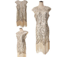 Gold 1920s Charleston Gatsby Flapper Girl Fancy Dress Costume Party Sequin Dress