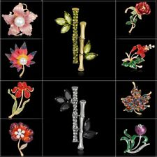 Fashion Women Flower Plant Bamboo Crystal Rhiestone Brooch Pin Jewelry Wedding