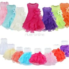 Infant Baby Girls Flower Tutu Princess Birthday Party Baptism Wedding Dress New