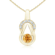 Solitaire Round Cut Citrine Infinity Knot Pendant with Diamond 14K Yellow Gold