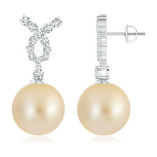 12 mm Solitaire Golden South Sea Cultured Pearl Dangle Earrings with Diamond