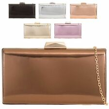 Ladies Hard Compact Patent Leather Clutch Bag Bridal Party Purse Handbag KTL2053