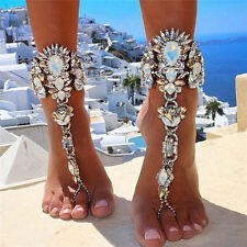Juxury Crystal Flower Pendant Anklet Chain Ankle Barefoot Sandals Foot JewelryFF