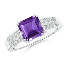 1.5 ctw Emerald Cut Amethyst Ring with Diamond Accents 14k White Gold Size 3-13