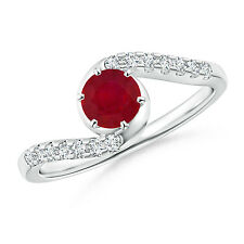 Round Natural Ruby Bypass Ring with Diamond Accents 14k White Gold/ Platinum