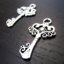 Key Charm 33mm Antiqued Silver Plated Pendants C5604 - 10, 20 Or 50PCs