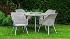 All Weather San Pedro Poly Rattan Garden Furniture - Round Dining Table 4 Chairs